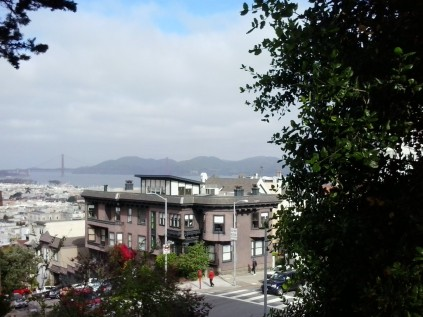 toward the Golden Gate Bridge from Lombard